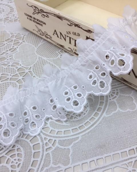 綿レースフリル 白 ギャザー 切り売り 約40mm幅 日本製 700080-25