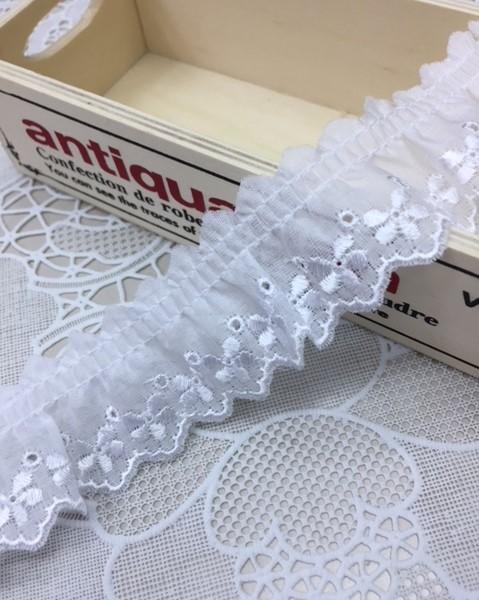 綿レースフリル 白 ギャザー 切り売り 約30mm幅 日本製 701423-25