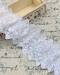 綿レースフリル 白 ギャザー 切り売り 約65mm幅 日本製 721939-25