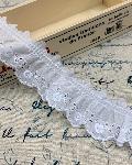 綿レースフリル 白 ギャザー 切り売り 約32mm幅 日本製 723429-25