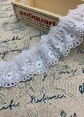 綿レースフリル 白 ギャザー 切り売り 約43mm幅 日本製 730013-25