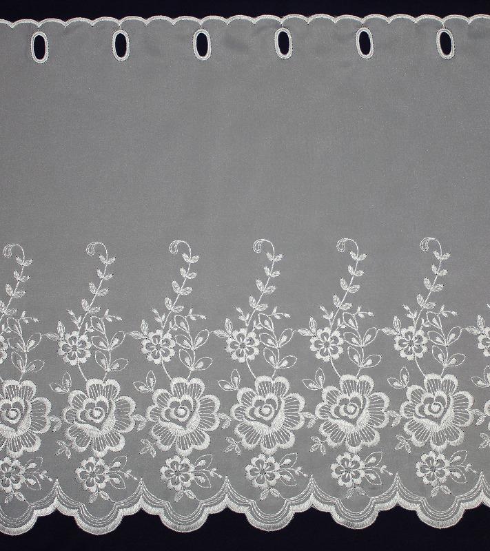 カフェカーテン ししゅう 丈50� FD-59654 (花柄) ホワイト