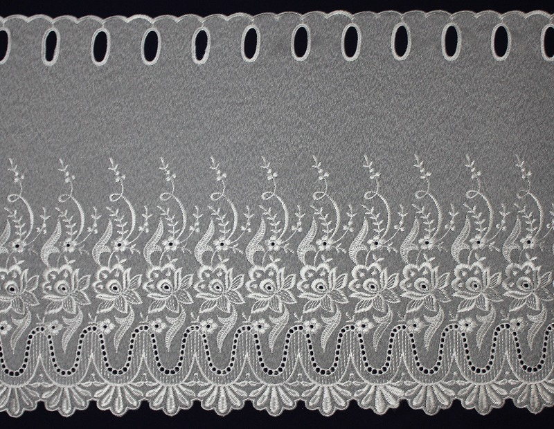 カフェカーテン ししゅう   丈45� T-7417 ホワイト