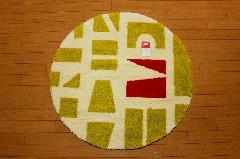 ツミキ マット円形 グリーン   90�p×90�p 丸