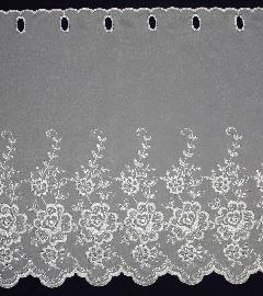 カフェカーテン ししゅう 丈50�p FD-59654 (花柄) ホワイト