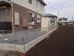 古河市 アパートの外構ブロック基礎工事