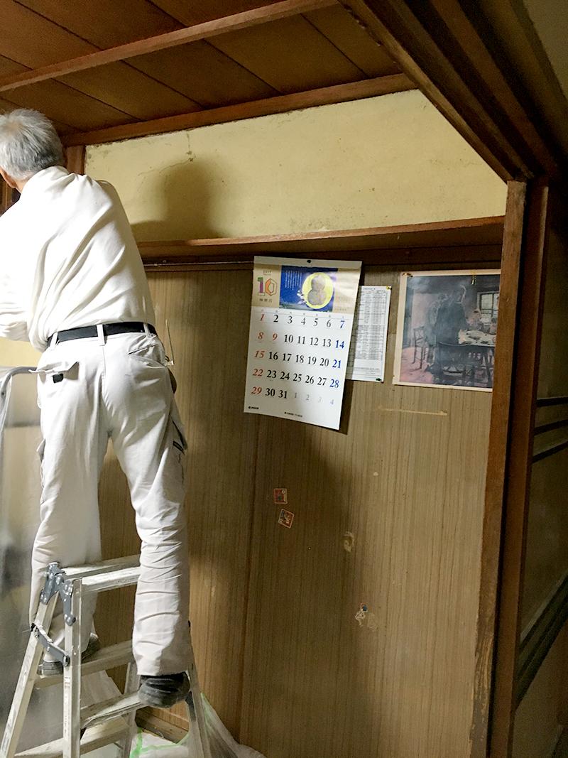 室内壁の漆喰塗り