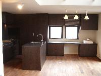 キッチンと一体のカウンター収納 右端は水槽スペース