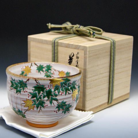 抹茶碗 灰柚茶碗 「青楓」 木箱入り 夏物