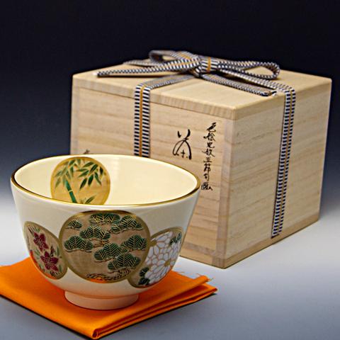 抹茶碗 色絵茶碗  「丸紋五節句」 木箱入り 通年物
