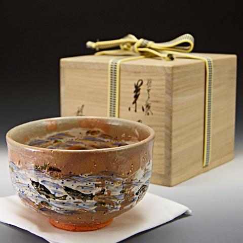 抹茶椀 乾山写 「鮎絵」 木箱入り 夏物