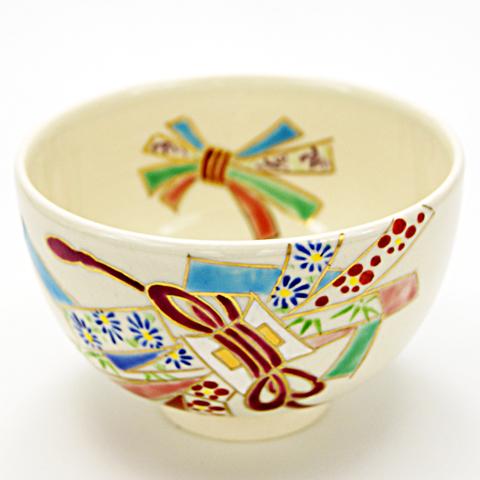 抹茶椀 色絵茶碗 「束熨斗」 通年物