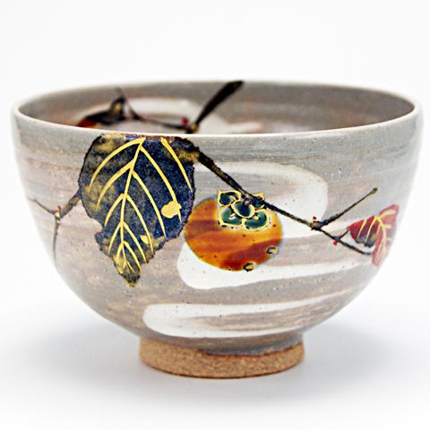 抹茶碗 乾山写  「柿」 秋物
