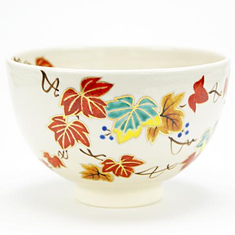 抹茶碗 色絵茶碗 「赤蔦」 秋物