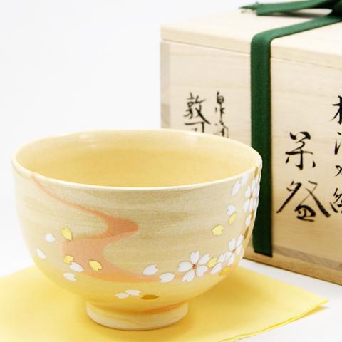 抹茶碗 「桜流水絵」 春物