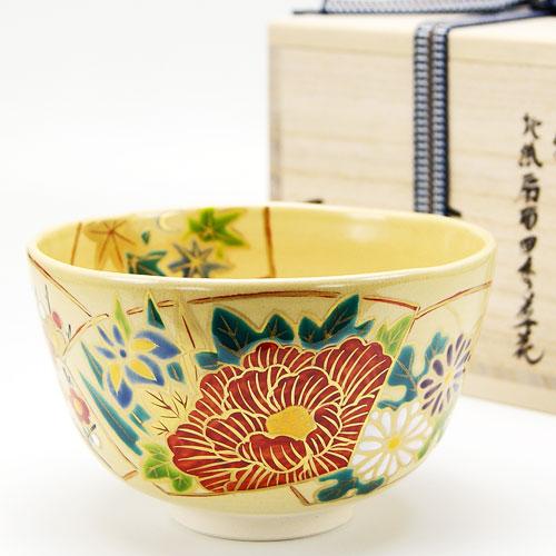 抹茶碗 色絵茶碗 「地紙四季草花」 木箱入り 通年物