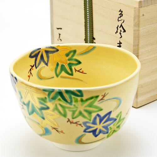 抹茶碗 色絵茶碗 「青楓」 木箱入り 夏物