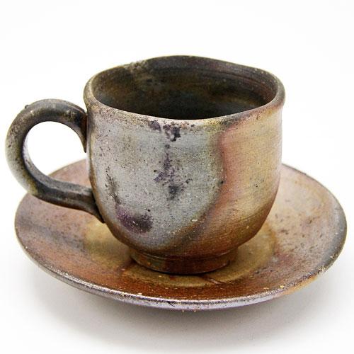 備前焼 コーヒーカップ&ソーサセット bizen-yunomi-290905-1