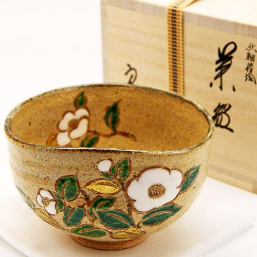 抹茶碗 灰柚茶碗 「椿絵」 木箱入り 冬物