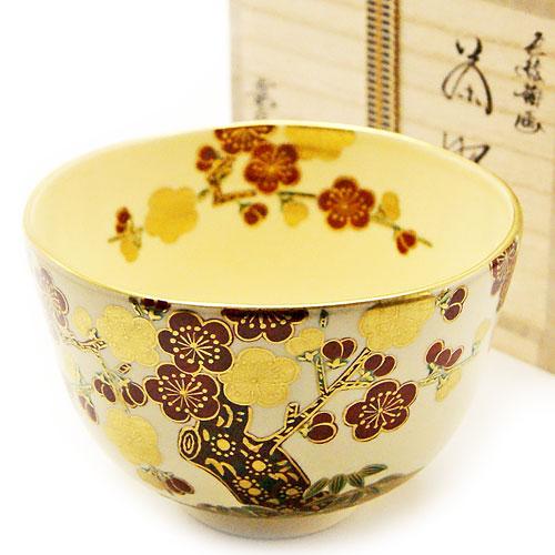 抹茶碗 色絵茶碗 「梅」 木箱入り 冬物
