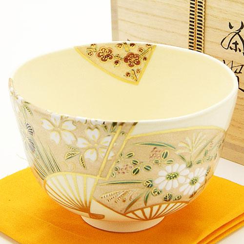 抹茶碗 色絵茶碗 「扇面草花」 木箱入り 通年物