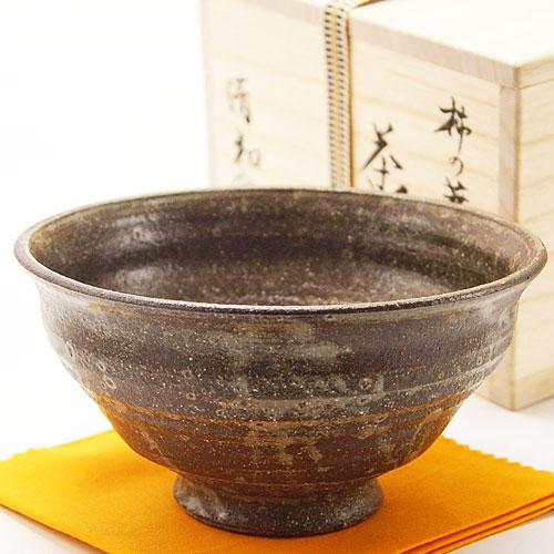 抹茶椀 柿の蔕写 木箱入り 通年茶碗 土物