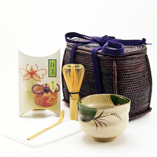 野点茶道具用籐筥(とうばこ)6点セット 織部抹茶茶碗 籐かご 和装バッグ