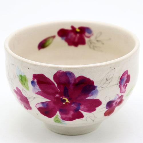 野点用抹茶碗 赤花 ミニ抹茶茶碗 茶道具