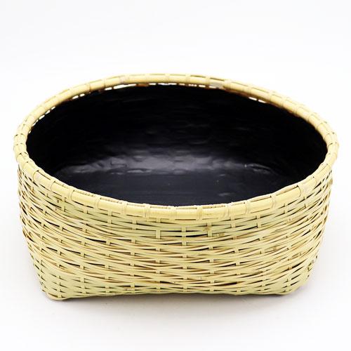 松葉編炭取 風炉用 松本頌竹作 炭斗 炭道具 竹製