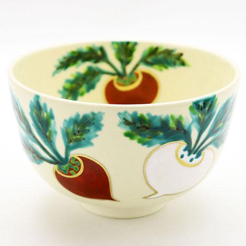 抹茶碗 色絵 「紅白蕪」 冬物