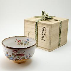 抹茶碗 灰柚茶碗 「朝顔流水絵」 木箱入り 夏物