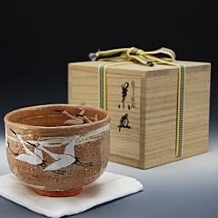 抹茶椀 乾山写 「鶴絵」 木箱入り 通年物