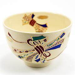 抹茶碗 色絵茶碗 「熨斗」 通年物