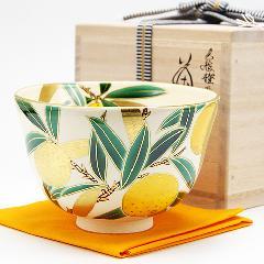 抹茶碗 色絵 「橙」 冬物