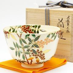 抹茶碗 色絵 「南天」 冬物