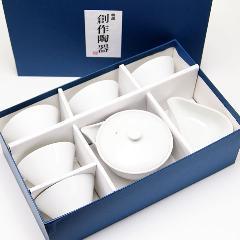 宝瓶・湯冷まし・茶碗5個セット 白磁
