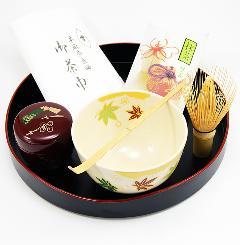 盆略点前7点セット 抹茶碗「雲錦」 棗 溜色「千代結び」