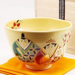 抹茶碗 色絵茶碗 「貝雛」 木箱入り 春物