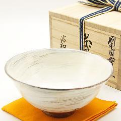 抹茶碗 刷毛目平茶碗 「雪月写」  木箱入り 通年物
