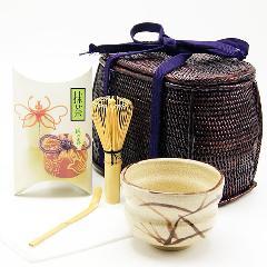野点茶道具用籐筥(とうばこ)6点セット 志野抹茶茶碗 籐かご 和装バッグ