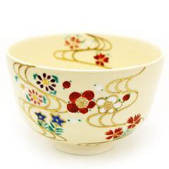 抹茶碗 色絵 「流水四季草花」 通年物