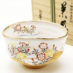 抹茶碗 灰釉茶碗 「撫子絵」 木箱入り 夏物