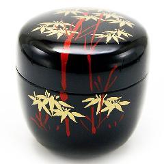 中棗 薄茶器 竹林 黒色 樹脂製 お稽古用