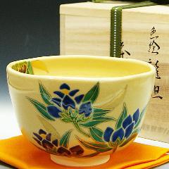 抹茶碗 色絵茶碗 「竜胆」 木箱入り 秋物