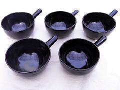 黒釉手付鉢
