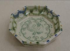 八角三彩鳳凰紋鉢