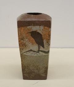青鷺象嵌角花瓶