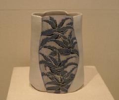 アロエ図泥彩花瓶