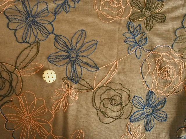 麻混刺繍天竺 オリーブ  M6397