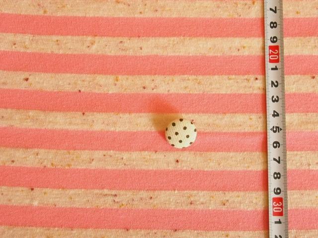 ネップ綿麻天竺ボーダーピンク M6737